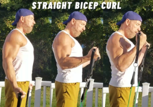 Straight Bicep Curl exercise for bigger biceps resistance bands
